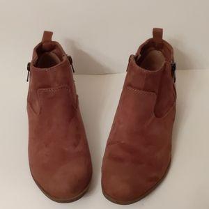 SO brown faux-suede flat booties-sz 7 1/2